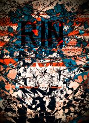 1girl 3kuma abstract_background character_name eyes_closed highres kagamine_rin open_mouth short_hair solo vocaloid