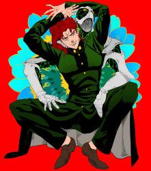 2boys gakuran green_eyes hierophant_green jojo_no_kimyou_na_bouken kakyouin_noriaki male multiple_boys red_hair school_uniform shikkoku_no_notto stand_(jojo)