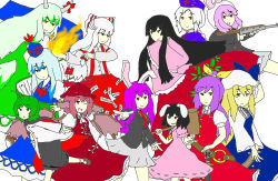 6+girls animal_ears antennae black_hair blazer blonde_hair blue_dress blue_eyes blue_hair bow bunny_ears cape carrot dress ex-keine fire fujiwara_no_mokou green_eyes green_hair gun hair_bow hat highres horns houraisan_kaguya imperishable_night inaba_tewi kamishirasawa_keine long_hair mallet multiple_girls mystia_lorelei open_mouth purple_hair red_cross red_eyes reisen reisen_udongein_inaba ribbon rifle scroll short_hair silver_hair skirt smile sword tail touhou watatsuki_no_toyohime watatsuki_no_yorihime weapon white_background white_hair wings wriggle_nightbug yagokoro_eirin yellow_eyes