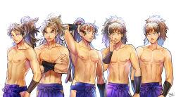 5boys brown_eyes brown_hair collage collarbone constricted_pupils crossed_arms fuwa_raizou hachiya_saburou hakama highres hip_vent japanese_clothes kukuchi_heisuke long_hair male_focus multiple_boys ohama_kan'emon okada_(hoooojicha) pectorals ponytail pose rakudai_ninja_rantarou settsuno_kirimaru shirtless taira_no_takiyashamaru takeya_hachizaemon toned vambraces