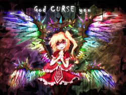 1girl blonde_hair colorful cowboy_shot crystal english flandre_scarlet frills halo hands_clasped heart jewelry looking_at_viewer multiple_wings no_hat no_headwear parted_lips pendant puffy_short_sleeves puffy_sleeves purin_(pixiv10714087) red_eyes shirt short_sleeves side_ponytail skirt skirt_set slit_pupils smile solo spikes touhou wings