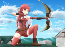 1girl aiming armpits asymmetric_gloves asymmetrical_gloves blue_sky boots bow_(weapon) braid day drawing_bow hai_to_gensou_no_grimgar hair_over_shoulder kayama_kouji long_hair on_roof one_knee quiver red_eyes red_hair red_legwear shorts single_braid sky solo thighhighs weapon yume_(grimgar) zettai_ryouiki
