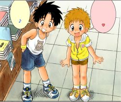 2boys book child male mitsui_jun multiple_boys shorts standing t-shirt tongue