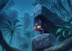atelier_pocket cat jungle litten_(pokemon) nature night night_sky no_humans outdoors pokemon pokemon_(creature) pokemon_(game) pokemon_sm red_eyes shooting_star sky solo star_(sky) tree yellow_sclera