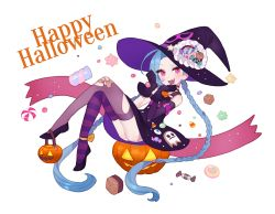 1girl :d asymmetrical_legwear black_gloves blue_hair braid candy crossed_bandaids fang gloves gwayo happy_halloween hat jack-o'-lantern jinx_(league_of_legends) league_of_legends legs_crossed long_hair looking_at_viewer open_mouth pink_eyes smile solo striped striped_legwear thighhighs twin_braids very_long_hair white_background witch_hat