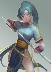1girl earrings fingerless_gloves fire_emblem gloves green_eyes green_hair grey_background highres jewelry katana long_hair lyndis_(fire_emblem) nanaya_(daaijianglin) ponytail sheath smile solo sword thighs unsheathing very_long_hair weapon