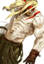 1boy abs bandage blonde_hair blue_eyes fingerless_gloves gloves headband highres kekai_kotaki long_hair male muscle navel one_eye_closed shirtless solo street_fighter street_fighter_iii tattoo