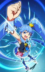 1girl :d arm_up armpits black_legwear blue_background blue_eyes blue_hair blue_skirt brooch clenched_hand crown cure_princess earrings happinesscharge_precure! highres jewelry long_hair magical_girl mini_crown necktie open_mouth payot precure shirayuki_hime shoes skirt smile solo standing thighhighs twintails uganda wrist_cuffs