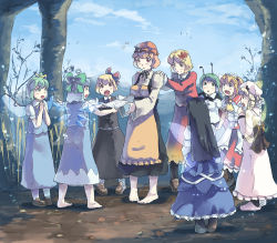 6+girls aki_minoriko aki_shizuha antennae apron black_hair blonde_hair blue_dress blue_hair blue_sky cape cirno cloud commentary_request daiyousei dress drill_hair fairy_wings flying_sweatdrops food forest fruit grapes green_eyes green_hair hair_bobbles hair_ornament hair_ribbon hands_on_shoulders heiya ice ice_block ice_wings juliet_sleeves long_sleeves luna_child mob_cap multiple_girls nature open_mouth outstretched_arms pantyhose puffy_short_sleeves puffy_sleeves red_eyes ribbon rumia sash shirt short_sleeves siblings sisters skirt skirt_set sky smile star_sapphire sunny_milk team_9 touhou vest white_dress wings wriggle_nightbug