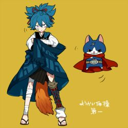 bandage blue_eyes blue_hair cape cat crossed_arms crossover full_body fuyunyan l_hakase looking_at_viewer no_socks sandals sayo_samonji scar simple_background standing touken_ranbu translation_request youkai youkai_watch