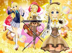 bubbles k-on! kotobuki_tsumugi luna_rune magical_girl mahou_shoujo_madoka_magica school_uniform sparkle tagme tomoe_mami_(cosplay)