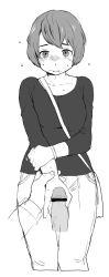 1girl bag bar_censor between_breasts blush bnnbnn bracelet breath censored denim handjob jeans jewelry monochrome original pants penis short_hair shoulder_bag solo_focus strap_cleavage wrist_grab