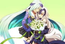 2girls aqua_hair armor bare_shoulders blush detached_sleeves eyes_closed fate/grand_order fate_(series) flower hair_over_one_eye headpiece heart height_difference jeanne_alter lancer_(fate/prototype_fragments) lily_(flower) long_hair multiple_girls oiun one_eye_closed pale_skin ruler_(fate/apocrypha) tsundere very_long_hair white_hair yellow_eyes yuri