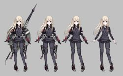 10s 1girl alternate_costume blonde_hair blue_eyes character_sheet cropped_jacket full_body grey_background high_heels iron_cross kantai_collection lance long_hair long_sleeves microskirt pleated_skirt polearm ruisento shield simple_background skirt solo standing u-511_(kantai_collection) weapon weapon_on_back