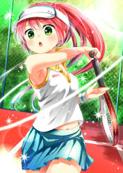 1girl absurdres armpits brown_hair green_eyes hat highres long_hair navel nora_wanko open_mouth original ponytail racket shirt skirt sleeveless sleeveless_shirt solo sport sportswear sweat tennis tennis_racket tennis_uniform visor_cap