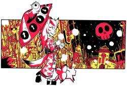 alcohol arrow fox fox_tail grin japanese_clothes kappa kimono kitsune long_hair multiple_tails oriental_umbrella original pet product_placement sake setz skull smile tail umbrella youkai yukata