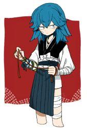 1boy bandage blue_eyes blue_hair hair_down japanese_clothes l_hakase long_hair male_focus sayo_samonji solo touken_ranbu
