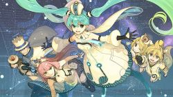 2boys 4girls animal_ears black_gloves black_legwear blue_eyes blue_hair blue_necktie blue_pants blue_shoes brown_eyes brown_hair cape clenched_hand closed_mouth coat crop_top detached_collar detached_sleeves dress earrings gloves green_eyes hair_ornament hairclip hat hatsune_miku hidari_(left_side) jewelry kagamine_len kagamine_rin kaito long_sleeves looking_at_viewer megurine_luka meiko multicolored_hair multiple_boys multiple_girls necktie one_eye_closed open_mouth outstretched_arms pants pink_hair project_diva_(series) project_diva_x shoes strapless strapless_dress striped striped_legwear tail thighhighs tiara top_hat two-tone_hair vertical-striped_legwear vertical_stripes vocaloid