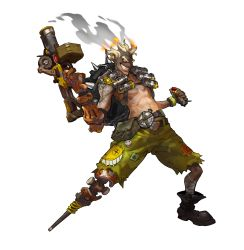 1boy absurdres alpha_transparency arnold_tsang blonde_hair boots chains dynamite eyebrows fingerless_gloves full_body gloves grin gun highres junkrat_(overwatch) male_focus mechanical_arm official_art overwatch peg_leg shirtless simple_background skull_and_crossbones smile smoke solo tattoo thick_eyebrows transparent_background weapon