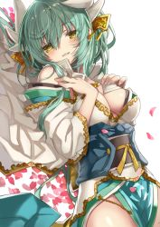 1girl bangs bare_shoulders blush breast_suppress breasts cleavage cowboy_shot eyebrows_visible_through_hair fate/grand_order fate_(series) fingernails green_hair groin hair_between_eyes hand_on_breast heart highres horns japanese_clothes kimono kiyohime_(fate/grand_order) long_hair looking_at_viewer lying medium_breasts messy_hair obi on_back petals sash shino_(eefy) smile solo white_background wide_sleeves yellow_eyes