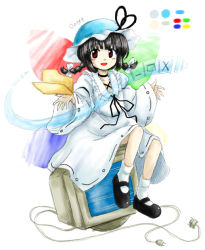 1girl :d bangs black_hair braid bucket_hat crt dress folder hat huyusilver looking_at_viewer mary_janes microsoft oota_jun'ya_(style) open_mouth palette parody personification plug red_eyes shoes smile solo style_parody twin_braids windows_8 wings