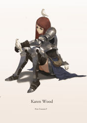 1girl absurdres animal_on_head arm_support armor armored_boots armored_dress artist_name bangs beige_background bird bird_on_hand bird_on_head boots braid brown_eyes brown_gloves brown_hair character_name dated dove full_body gloves gradient gradient_background highres knees_together_feet_apart long_hair looking_at_another pauldrons pixiv_fantasia pixiv_fantasia_t pouch red_hair single_braid sitting skirt solo swept_bangs thigh_boots thighhighs thighs virus76