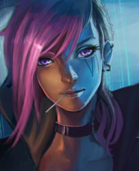 1girl asymmetrical_hair blue_eyes choker clockwork-cadaver ear_piercing earrings eyelashes face high_collar highres jewelry league_of_legends lipgloss lips looking_at_viewer mouth_hold nose nose_piercing piercing pink_hair portrait punk purple_eyes short_hair solo vi_(league_of_legends)