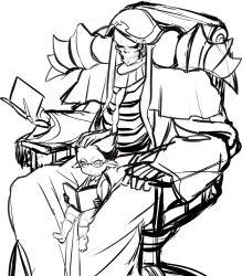 2boys ainz_ooal_gown alternate_age book collar demiurge ear_piercing glasses hood masiro_(artist) monochrome multiple_boys overlord_(maruyama) reading robe sitting sitting_on_person skeleton