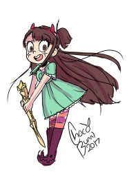 1girl boots brown_hair character_request cosplay dress kagari_atsuko little_witch_academia long_hair pantyhose solo star_butterfly star_butterfly_(cosplay) star_vs_the_forces_of_evil striped_pantyhose wand witch