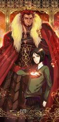 2boys astarone beard black_hair cape command_spell facial_hair fate/zero fate_(series) multiple_boys pteruges red_hair rider_(fate/zero) waver_velvet
