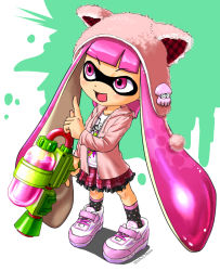 1girl 2015 :d animal_hat artist_name blooper blush cat_hat clothes_writing copyright_name dated hat holding hoodie inkling long_hair mask open_mouth pink_eyes pink_hair pink_skirt pointing pointing_up shirt shoes skirt smile sneakers socks solo splatoon standing super_mario_bros. super_soaker tanukino tentacle_hair very_long_hair
