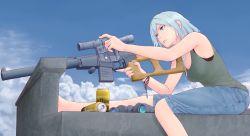 1girl binoculars blue_eyes blue_hair can denim full_body gun highres jeans notasuspiciousguy original pants rifle sniper_rifle weapon