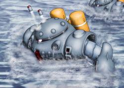 gundam gundam_0080 mecha missile no_humans robot sea water z'gok z'gok-e