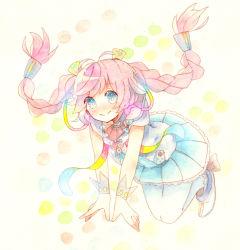 1girl blue_eyes blush hair_ornament long_hair pink_hair rana_(vocaloid) simple_background smile solo traditional_media white_legwear
