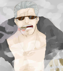 1boy cigar gradient_background grey_hair jacket male_focus marine nude_jacket one_piece scar shirtless smoke smoker smoking solo sunglasses