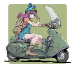 1girl android animal_hat ankle_boots backpack bag blue_eyes boots dr._slump flat_color glasses gloves ground_vehicle hat helmet long_hair looking_ahead motor_vehicle norimaki_arale older open_mouth overalls pink_hair riding robot_joints scooter solo sukabu wind