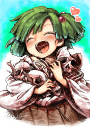 1girl blush bucket commentary_request eyes_closed green_hair hair_bobbles hair_ornament happy harusame_(unmei_no_ikasumi) heart highres in_bucket in_container japanese_clothes kisume long_sleeves open_mouth saliva simple_background skeleton skull smile solo tongue touhou twintails wide_sleeves