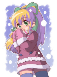 1girl blonde_hair green_eyes hair_ribbon ki_(adotadot) long_hair looking_at_viewer mittens panties pantyshot ponytail ribbon rockman rockman_(classic) roll scarf snow solo thighhighs underwear warming_hands winter_clothes winter_coat