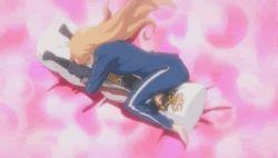 1girl animated animated_gif barefoot crotch_rub dakimakura_(object) female hug jersey kiryuu_yuuzuki kissxsis masturbation orange_hair pillow rubbing solo