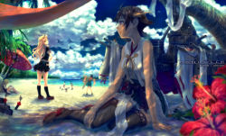 6+girls aircraft airplane artist_name bangs bare_arms bare_shoulders beach beach_umbrella black_serafuku black_skirt blonde_hair blue_eyes boots bow_(weapon) breasts brown_hair brown_shoes cloud cloudy_sky commentary_request condensation_trail copyright_name dappled_sunlight day drawing_bow drying_clothes eyes_closed fairy_(jintai) flight_deck flower hair_flaps hairband hand_on_hip headgear hiei_(kantai_collection) highres hiryuu_(kantai_collection) holding holding_weapon i-8_(kantai_collection) innertube island japanese_clothes kantai_collection loafers long_hair looking_at_viewer looking_away looking_back machinery mecha_musume miniskirt multiple_girls ocean one-piece_swimsuit palm_tree pleated_skirt reading reclining red_eyes remodel_(kantai_collection) rensouhou-chan ribbon-trimmed_sleeves ribbon_trim running school_swimsuit school_uniform serafuku shade shimakaze_(kantai_collection) shoes short_hair short_sleeves sitting skirt sky sleeveless sleeves_removed smile solo_focus standing sunlight swimsuit tama_(tama_sphere) thigh_boots thighhighs torpedo tree umbrella weapon wide_sleeves yukikaze_(kantai_collection) yuudachi_(kantai_collection)