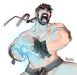 1boy alternate_costume beard black_hair capcom energy_ball headband open_mouth ryuu_(street_fighter) shirtless solo street_fighter street_fighter_v talez01 wrist_wraps yelling