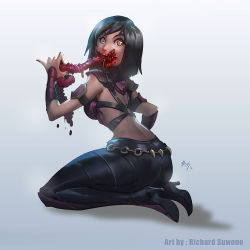 ass blood eating guro high_heel_boots intestines mileena mortal_kombat richard_suwono sharp_teeth short_hair teeth yellow_eyes