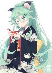 blue_eyes blush green_hair kantai_collection kimono long_hair personification smile yamakaze_(kantai_collection)
