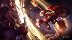 armor blue_skin hammer highres league_of_legends official_art pointy_ears poppy red_armor twintails yellow_eyes yellow_sclera