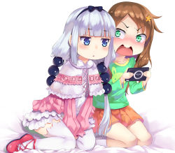 2girls aoi_(buzhuen444) bangs beads black_bow black_hairband blue_eyes blunt_bangs blush bow brand_name_imitation brown_hair capelet dress eyebrows_visible_through_hair green_eyes hair_beads hair_bow hair_ornament hairband handheld_game_console highres holding kanna_kamui kobayashi-san_chi_no_maidragon long_hair long_sleeves looking_at_another multiple_girls open_mouth orange_skirt playstation_portable red_shirt red_shoes saikawa_riko shirt shoes short_dress silver_hair simple_background sitting skirt socks thighhighs triangle_mouth twintails v_arms wavy_mouth white_legwear yuri zettai_ryouiki