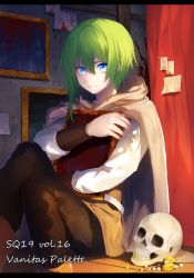 1boy blue_eyes blush cape erubo green_hair hug looking_at_viewer open_mouth original picture_frame skull