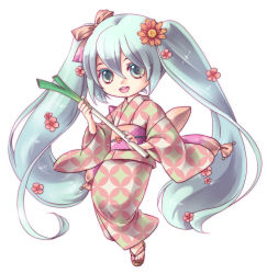 1girl :d aqua_eyes aqua_hair aqua_nails bow chibi flower hair_between_eyes hair_bow hair_flower hair_ornament hatsune_miku japanese_clothes kimono long_hair looking_at_viewer masaki3 nail_polish obi open_mouth sandals sash simple_background smile solo spring_onion toenail_polish twintails very_long_hair vocaloid white_background wide_sleeves