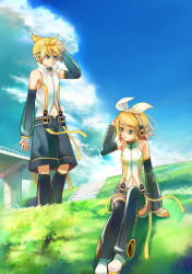1boy 1girl absurdres blonde_hair blue_eyes brother_and_sister cloud detached_sleeves grass headphones highres kagamine_len kagamine_len_(append) kagamine_rin kagamine_rin_(append) kamisakai messy_hair navel navel_cutout see-through short_hair siblings thighhighs twins vocaloid vocaloid_append