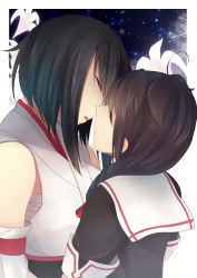 2girls black_hair blush braid breasts brown_hair detached_sleeves eyes_closed flower hinagi_(fox_priest) incipient_kiss japanese_clothes kantai_collection lily_(flower) long_hair medium_breasts multiple_girls open_mouth sarashi school_uniform serafuku shigure_(kantai_collection) short_hair single_braid yamashiro_(kantai_collection) yuri