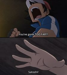 1boy baseball_cap black_hair blood blue_jacket clenched_hand commentary fake_screenshot fingerless_gloves from_below fullmetal_alchemist gloves hat highres indoors jacket looking_up mgx0 open_mouth outstretched_hand parody pokemon pokemon_(anime) satoshi_(pokemon) screaming solo subtitled teeth tongue
